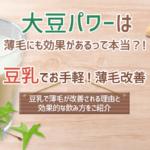 大豆パワーは薄毛にも効果あり! 豆乳でお手軽!薄毛が改善される理由と効果的な飲み方をご紹介